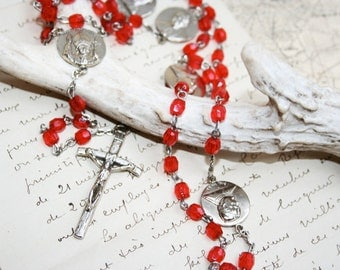 Rosary, Crucifix Necklace with Red Crystal Beads and Silver, Past Popes represented, Vintage Rosary