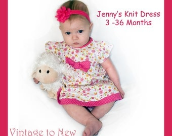 Instant Download PDF Sewing Pattern Baby Toddler Dress 3 6 9 12 18 24 36 months Beginner Easy Video Tutorial Included
