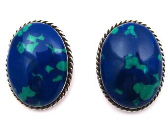 Vintage Mexican Blue Azurite Sterling Silver Pierced Ear Earrings