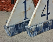 Free Standing Wooden Sail Boat, Wedding Table Numbers, Nautical Beach-y Event, Monogram, Family Name