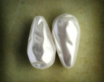 Striking 22x12mm Teardrop Baroque White Pearl Glass Beads, Quantity 2