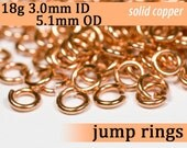 18g 3.0 mm ID 5.1 mm OD copper jump rings -- 18g3.00 open jumprings links