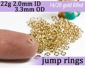 22g 2.0mm ID 3.3mm OD gold filled jump rings -- 22g2.00 goldfill jumprings 14k goldfilled jewelry supplies findings
