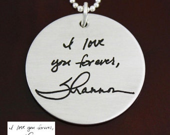 Handwriting / Artwork Necklace - Large Round Charm Handwriting Jewelry