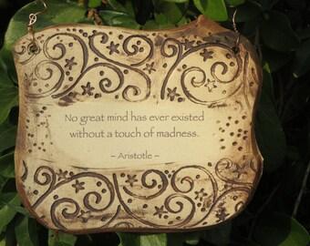 Aristotle Inspirational Quote Ceramic Plaque