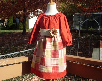 Country Patchwork Peasant Dress, Size 3-4, 5-6, 7-8, and 9-10