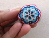 OOAK, Merkabah Sacred Geometry, Huichol Flower, Beaded Star, Stepping Stone for Garden, Fairy Garden, Terrarium, Decorative