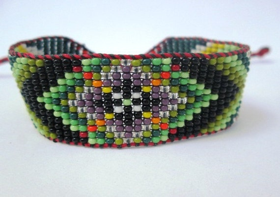 Huichol Inspired Beaded Flower Geometric Mandala Bracelet, Original Design 13, Purple and Green Center