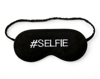Selfie sleep mask, Selfie hashtag sign, sleeping eye mask, #selfie photo, black and white text art, social media, typography gift for her