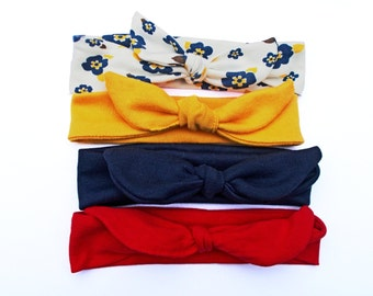 Set of 4 Primary Colors Headbands Jersey Knit Top Knot Tie/Knotted Headwrap Baby Toddler