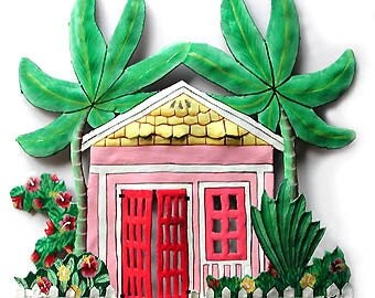 Painted Metal Wall Art - Pink Caribbean Gingerbread House Wall Hanging - Tropical Home Decor - Painted Metal Tropical Art Design - K-1003-PK