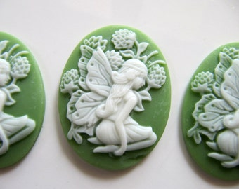 40mm Resin Cameo Cabochon in Light Green and Ivory with Victorian Fairy, Flowers, 40mm x 30mm Oval, 2 Pieces, Flat Back, Glue On Cabochon