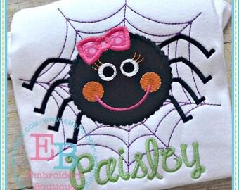 Custom Personalized Girly Spider Halloween Shirt or Onesie - Machine Applique