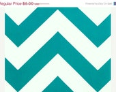 Closing Shop DESTASH REMNANT Home Dec Fabric Yardage - Large Chevron Stripe- Turquoise and White - 5/6 of a yard