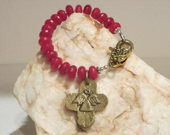Fuschia Dyed Jade with Brass Angel Charm Bracelet