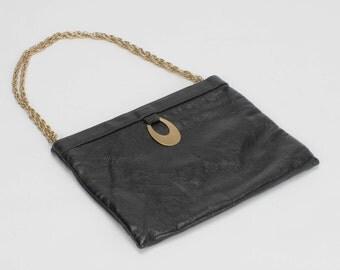 Clutch Purse Black Leather Gold Dangle