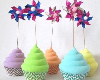 Pinwheels for Cupcake Toppers Foil Spinning Pinwheels for birthday party baby shower bride and bridal shower wedding party favors
