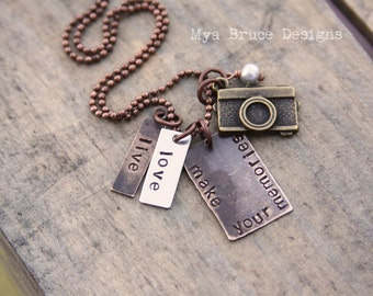 Mixed metal necklace for Photographer or life-moment-catcher ---- Live Love. Make your Memories