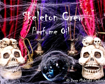 SKELETON CREW Perfume Oil: Popcorn, butter, roasted marshmallows, sugar, dried leaves, amber, charred wood, Halloween Perfume, Autumn