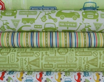 Cruiser Blvd Green Fat Quarter Bundle by Sheri McCulley Studio for Riley Blake, 5 pieces