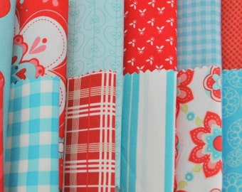 """Aqua and Red 5"""" squares Charm Pack, 56 pieces, 100% cotton"""