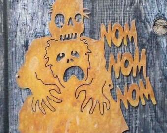 Nom Nom Zombie Eating Brains Screw Mount Sign