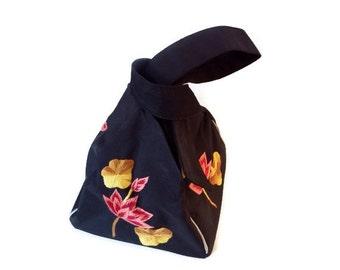 Vintage  Black Evening Purse /Small Silk Hand Embroidered Unique Handbag, Like New