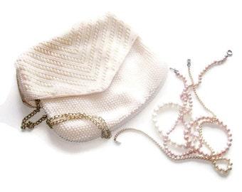 Vintage  Beaded Evening Bag- White Plastic Mad Men Vintage Double Sided Purse - White Beaded Vintage Handbag - Retro Purse Handbag