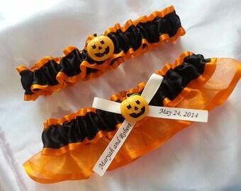Tangerine orange Halloween Themed Wedding Garter set personalized