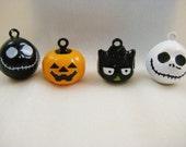 Halloween Collection - 4 Pieces - 1 Black Hoot Owl, 1 White Skull, 1 Black Skull, 1 Orange Pumpkin Animal Jingle Bell Charms