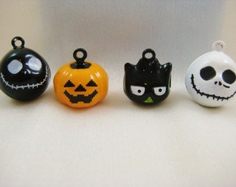 Halloween Collection - 4 Pieces - 1 Black Hoot Owl, 1 White Skull, 1 Black Skull, 1 Orange Pumpkin Animal Jingle Bell Charms