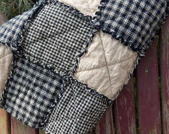 Rag Quilt Throw Size, Black and Tan Homespun Country Primitive Quilt, Farmhouse Decor, Rustic Blanket,  Handmade in NJ