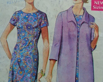 60s Sheath Dress & Coat Pattern Style 2130 Bust 44 Lined Coat Jacket Pattern Mad Men