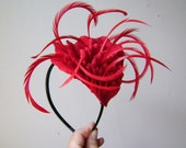 RESERVED Red Velvet Cake - Rose Petal Headband with Feather Accents