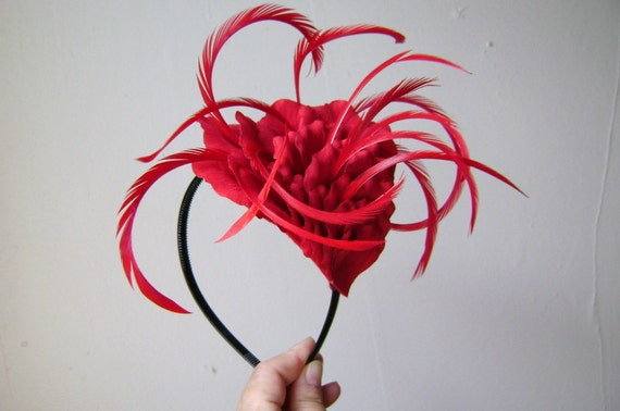 Red Velvet Cake - Rose Petal Headband with Feather Accents