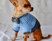 Crochet Dog Sweater, Dog Sweater with Bow, The Oxford Dog Sweater