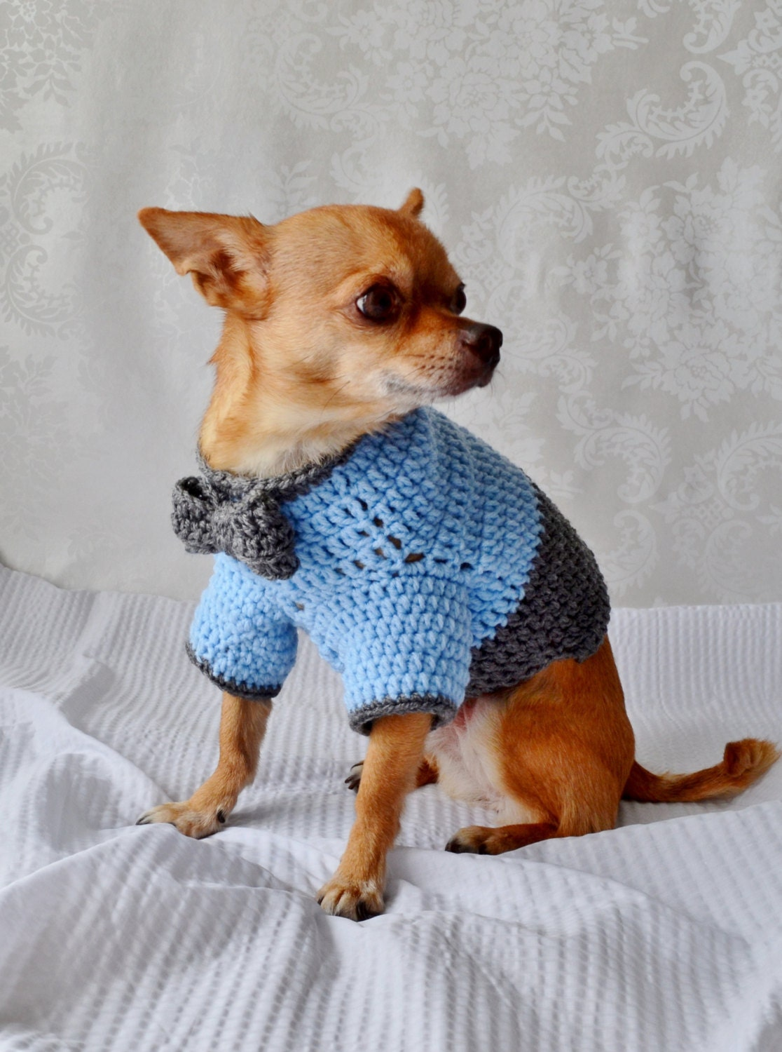 Crochet Dog Sweater Dog Sweater with Bow The Oxford by lukesmom6