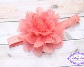 Coral baby headband, coral lace headband, newborn headband, infant headband,  shabby flower headband, toddler headband, coral flower
