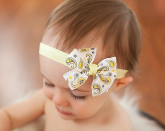 Baby headband, yellow and grey baby headband, paisley headband, yellow bow headband