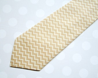 Boys Tie - Boys Ties - Boys Wedding Tie - Ring Bearer Tie - Tan and Cream Chevron Tie - Camel Chevron Tie
