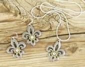 Gift Set / Bullet Earrings / Bullet Necklace / Silver Hammered Fleur de Lis Necklace & Earring Set ANY-25-B-GHFN / Fleur de Lis Gift Set