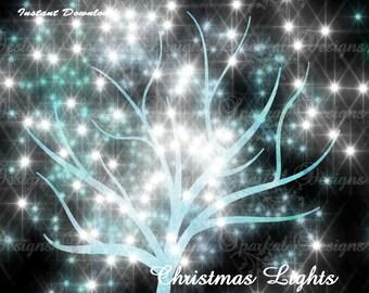 TREE Clipart, Tree LIGHTS Clipart, Burst of Light, Sparkle Lights, Star Lights, Christmas Tree Lights Lit up Trees Scrapbooking Elements