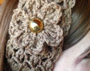 Crocheted Headband with Flower