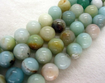 Natural Amazonite Smooth Round Gemstone Beads 8mm