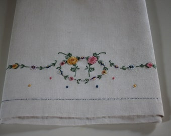 DISH TOWEL - hand EMBROIDERED - beautiful - floral wreath