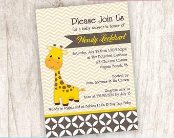 Giraffe Baby Shower Invitation, Gender Neutral Baby Shower Invite, Yellow - DiY Printable, Print Service Available || Georgie the Giraffe