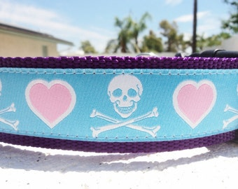 """Large Dog Collar I Love Pirates 1.5"""" width side release buckle - see 3/4"""" & 1"""" listings within - martingale style is cost upgrade"""