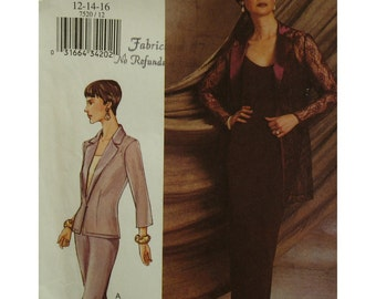 Evening Wear Suit Pattern, Notched Collar Jacket, Fitted, Short/Long, Camisole, Long Skirt, Pants, Vogue No. 7520 UNCUT Size 12 14 16