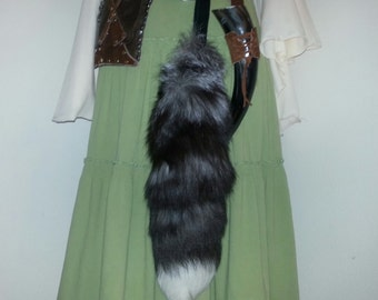 Genuine Silver Fox Tail Keychain - Made To Order