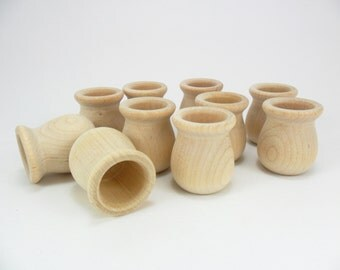 "6 Candle Cup 1 1/2"" H x 1 5/16"" Diameter 7/8"" Hole Unfinished Wood Bean Pot Candle Holder"